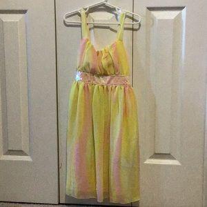 Other - Girls yellow and pink chiffon dress